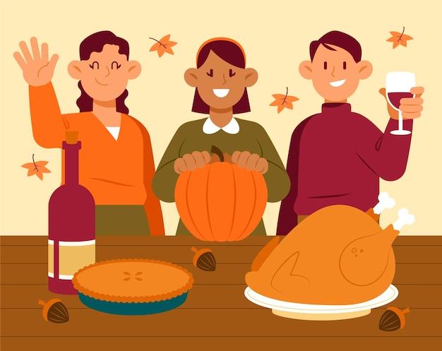 Mão desenhada ilustração plana de pessoas celebrando o dia de ação de graças