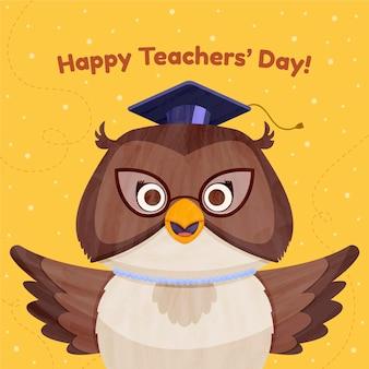 Mão desenhada ilustração plana do dia dos professores com coruja