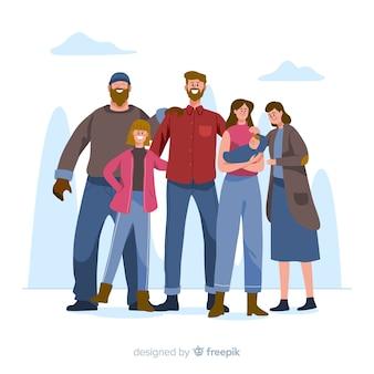 Mão desenhada ilustração retrato de família