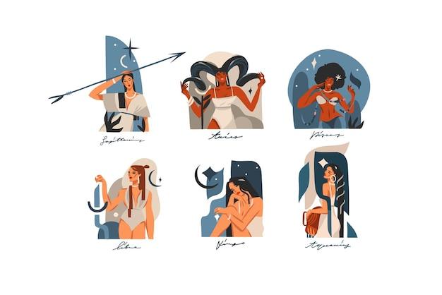 Mão desenhada ilustrações gráficas abstratas de ações vetoriais com conjunto de coleta de sinais astrológicos contemporâneos do zodíaco, personagens femininas mágicas de beleza, design de clipart boho isolado no fundo branco.