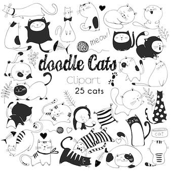 Mão desenhada ilustrações vetoriais de personagens de gatos. estilo de esboço. doodle