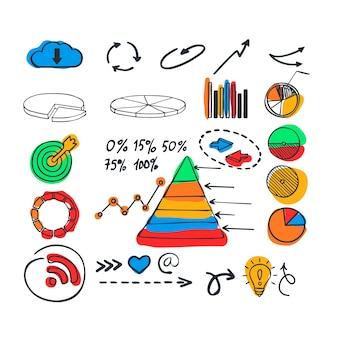Mão desenhada infográfico elementos