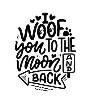 Mão desenhada inspiradora citação sobre cães