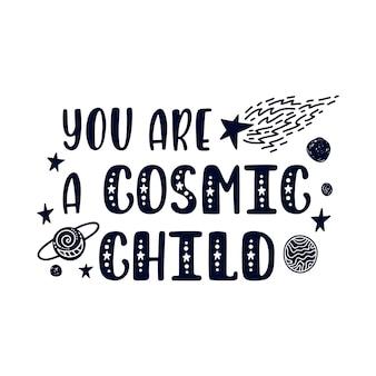 Mão desenhada inspiradora citação sobre o espaço.