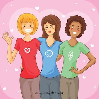 Mão desenhada internacional grupo de mulheres