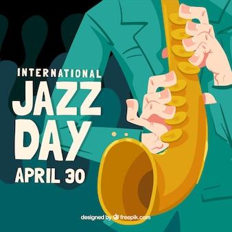 Mão desenhada jazz dia composição