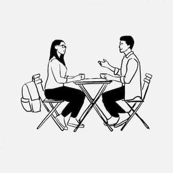 Mão desenhada jovem casal desfrutando de café e conversando com ilustração