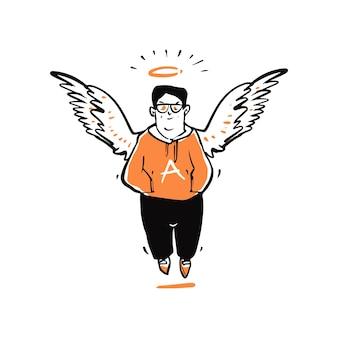 Mão desenhada jovem com asas de anjo.