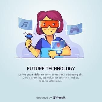 Mão desenhada jovem garota usando o fundo de dispositivos tecnológicos