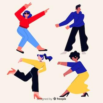 Mão desenhada jovens dançando coleção
