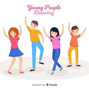 Mão desenhada jovens dançando ilustração