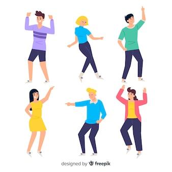 Mão desenhada jovens dançando