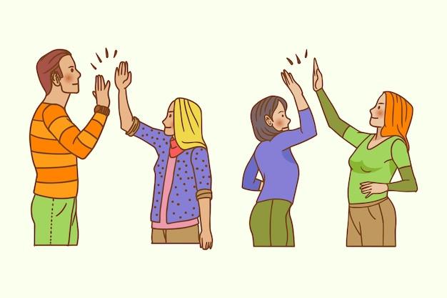 Mão desenhada jovens dando alta cinco conjunto