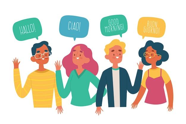 Mão desenhada jovens falando em diferentes idiomas definido