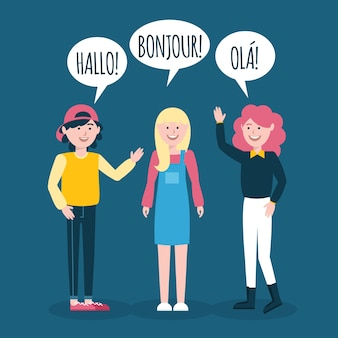 Mão desenhada jovens falando na coleção de diferentes idiomas