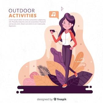 Mão desenhada jovens fazendo atividades ao ar livre fundo