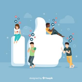 Mão desenhada jovens mídias sociais como fundo do conceito