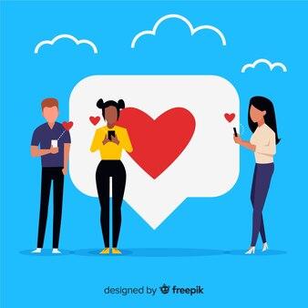 Mão desenhada jovens mídias sociais coração conceito fundo