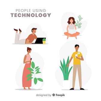 Mão desenhada jovens usando o pacote de dispositivos tecnológicos