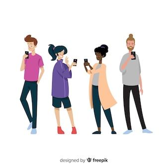 Mão desenhada jovens usando smartphone conjunto