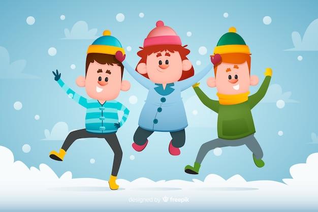Mão desenhada jovens vestindo roupas de inverno pulando