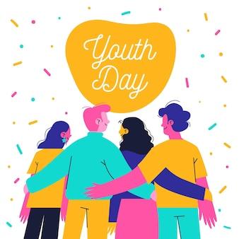 Mão desenhada juventude dia pessoas abraçando juntos