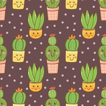 Mão desenhada kawaii cactus seamless pattern