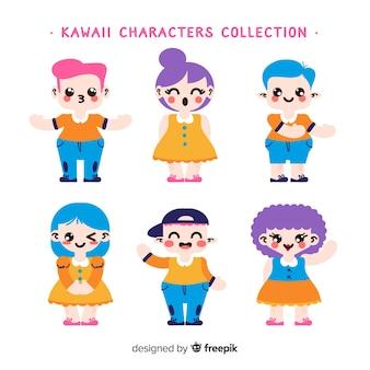 Mão desenhada kawaii coleção de personagens sorridente