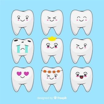 Mão desenhada kawaii dentes pack