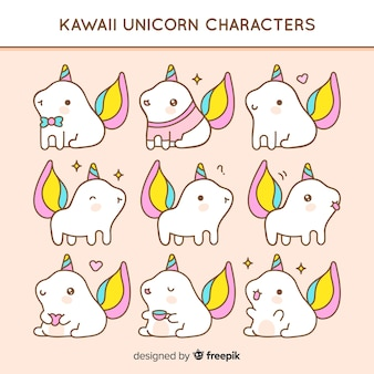 Mão desenhada kawaii pacote de animais