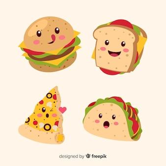 Mão desenhada kawaii sorridente coleção de comida