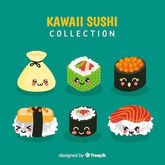 Mão desenhada kawaii sorridente coleção de sushi