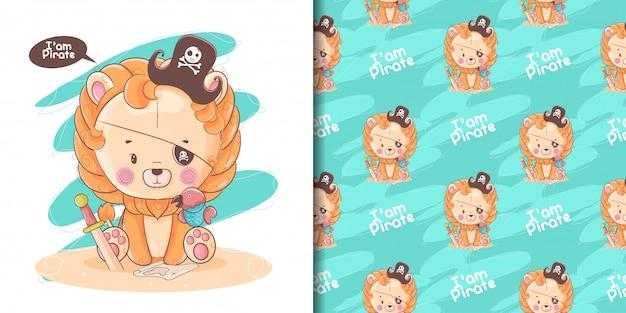 Mão desenhada leão bebê fofo com pirata personalizado e padrão
