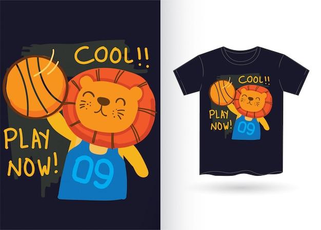 Mão desenhada leão fofo para camiseta