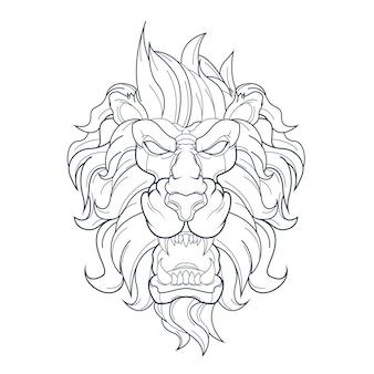Mão desenhada leão zangado isolado no branco