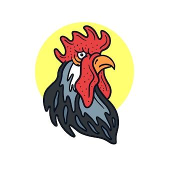 Mão desenhada legal lutando galo velha escola tatuagem ilustração