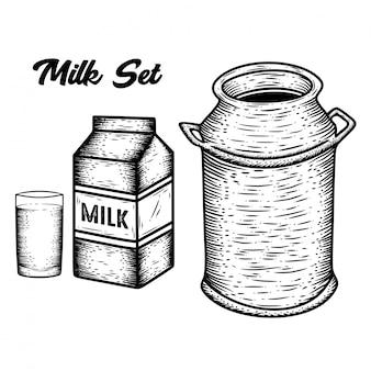 Mão desenhada leite conjunto