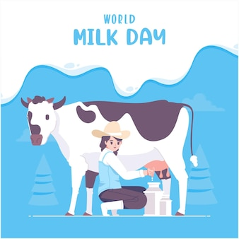 Mão desenhada leite dia ilustração fundo
