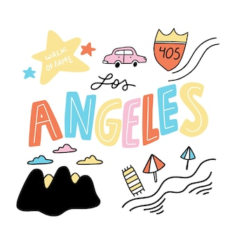 Mão desenhada letras coloridas da cidade de los angeles
