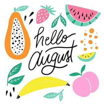Mão desenhada letras de agosto com frutas