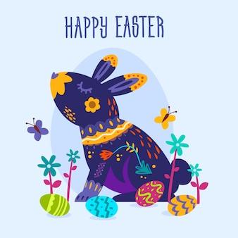 Mão desenhada letras de dia de páscoa com coelho