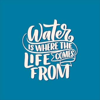 Mão desenhada letras lema sobre mudança climática e crise da água