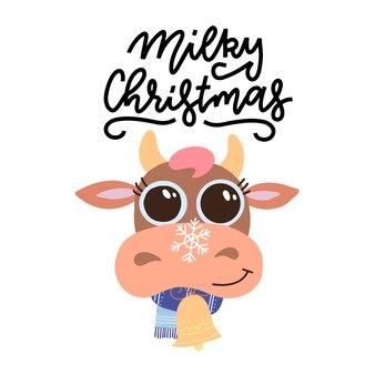 Mão desenhada letras - milky christmas. cabeça de vaca bonito dos desenhos animados de natal com lenço.