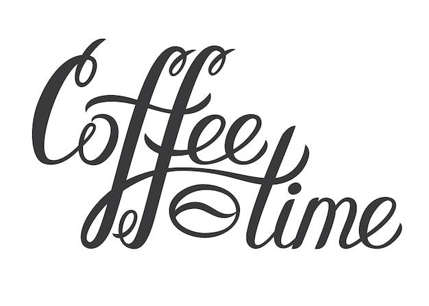 Mão desenhada lettering café hora