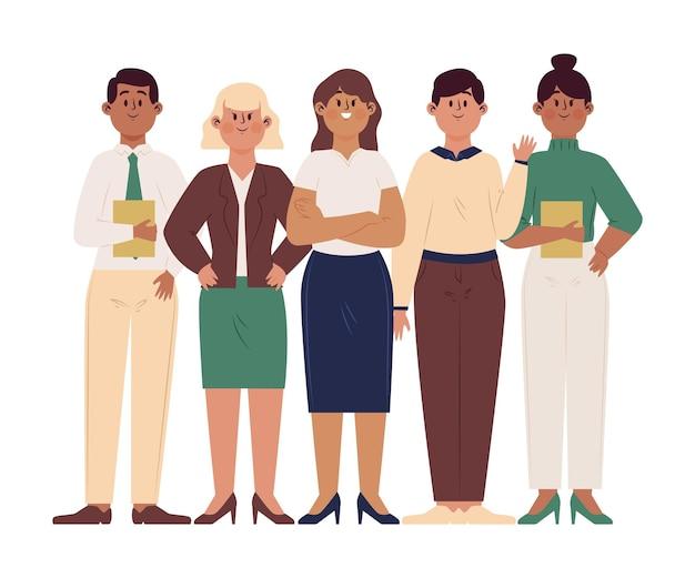 Mão desenhada líder feminina da equipe em um grupo de pessoas diferentes