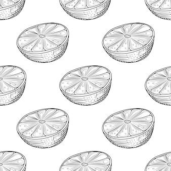 Mão desenhada limão fatia sem costura padrão no fundo branco. citrinos de limão