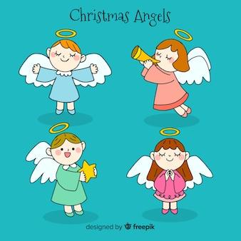 Mão desenhada linda coleção de anjo de natal