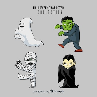 Mão desenhada linda coleção de personagens de halloween