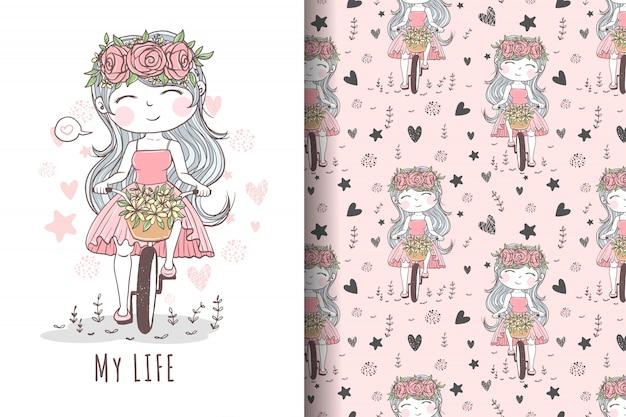 Mão desenhada linda garota andando de bicicleta, ilustração e padrão
