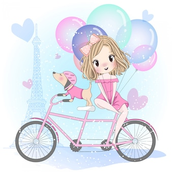Mão desenhada linda garota com cachorro fofo sentado em uma bicicleta